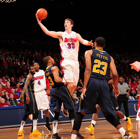 Dayton's Matt Kavanaugh puts up a shot against Lasalle in the first half at UD Arena